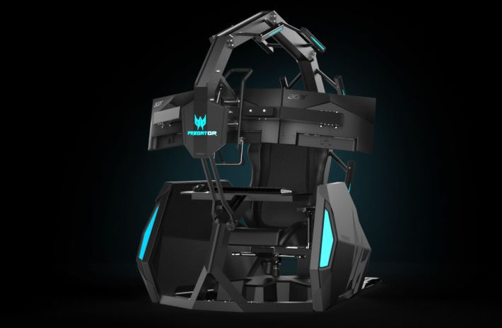 Thronos Air 為沈浸式體驗的電競座艙,常見於遊戲及 VR 活動展覽或娛樂場所。