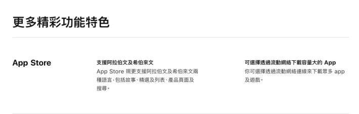 香港 Apple 網站介紹 iOS 13 「全部新功能」的網頁中,並沒有記載有關 Apple Arcade 的內容。