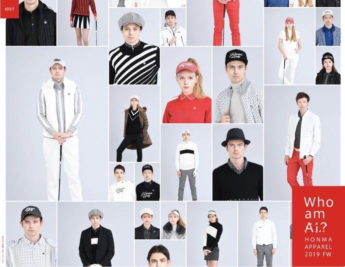 網站隨機展示各種高爾夫球服飾配搭,全部模特兒都是 AI 生成的虛構模特兒。