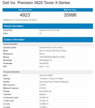 Intel Core i9-9900X 配 128GB RAM 之 Geekbench 分數