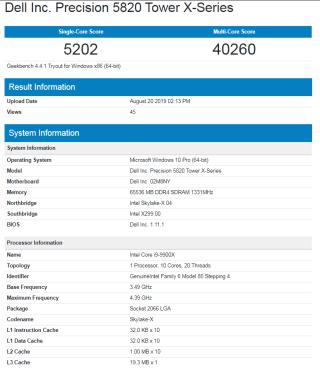 Intel Core i9-9900X 配 64GB RAM 之 Geekbench 分數
