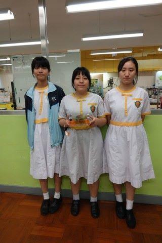 壓力發電板意念原於生活裡的䟴腳,由(左起)學生楊 咏妮、朱伊琳和楊詠佟合力設計而成。