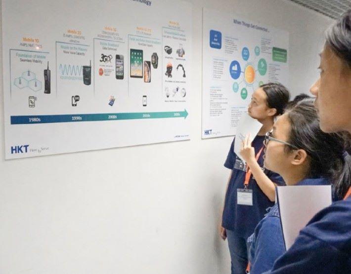 參觀期間,此張電訊2G至5G的發展藍圖,引發了學生多項提問。