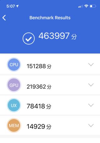 使用 AnTuTu 進行效能速測,此機得分高達 463,997 分,輕易勝過目前旗艦 Android 手機。