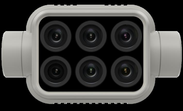 一體式多光譜成像系統整合了 6 個相機感測器,每個均具備 200 萬像素並配備全域快門。