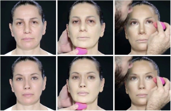 上面一行是原來影像,下面一行就是經過「 De-ID 」處理,可以看到瞳孔顏色、鼻型以至眼角皺紋都有些許差別,令電腦無法將這張臉原來的人臉關連起來。