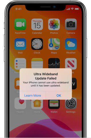 超寬頻無線更新失敗:無法使用 UWB 功能,現時來說主要影響 Airdrop ,但將來可能會影響到定位功能。