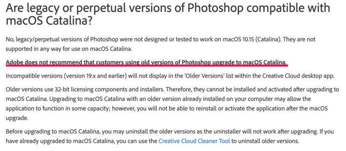 Adobe 指出版本 19.x 或以下的 Photoshop 不兼容 macOS Catalina ,應該解除安裝之後才升級。