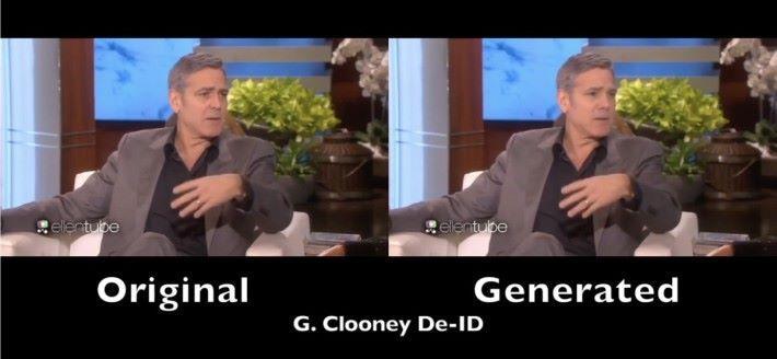 佐治.古尼經過 De-ID 之後,唇型明顯改變了,不過在連續動畫中,看起來差異就不大。