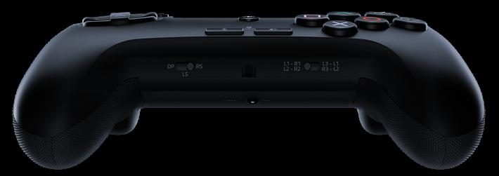 手掣底部有 L、R 掣切換和街機棍常有的 DP、LS、RS 模式切換鍵,亦有 3.5mm 耳機接口。