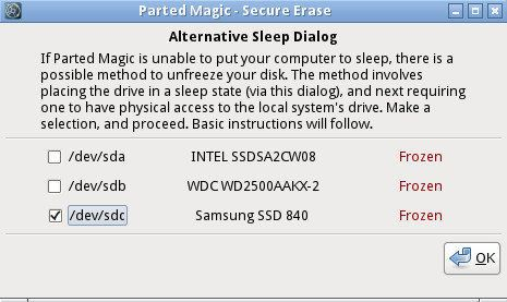 Parted Magic 提供另一套方法來解除給凍結的 SSD 以便安全清除內容。