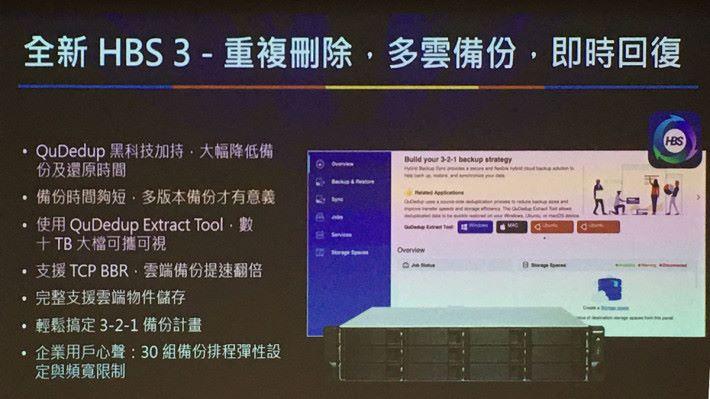 全新的 HBS 3 加入 QuDedup 技術,可以有效減少備份及還原時間。