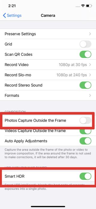 拍攝時一定要開啟Smart HDR功能,以及要將「在取景框外拍攝相片」一項關閉,才可真正使用到Deep Fusion功能。