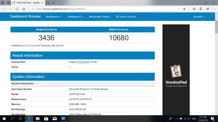使用第 8 代 Intel Core i5-8265U處理器,配備 8GB DDR4 RAM,整體效能相當足夠。