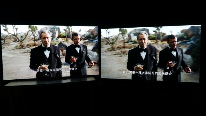 .在Dolby Vision 下巷看Netflix影片,A9G 的Dolby Vision在明亮模式,畫面比A8G的Dolby Vision明顯更亮,風別是暗部的表現能力,兩者差別相當明顯。
