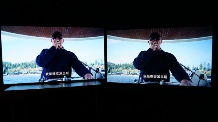 .我經常說 OLED 電視雖然黑色表現佳,但最好是有低光環境下觀看,因為會影響其對比度表現。此畫面是在全黑環境下看船長的衣服,黑色毛冷外套,無論 A9G 和 A8G 都可以看到細節。