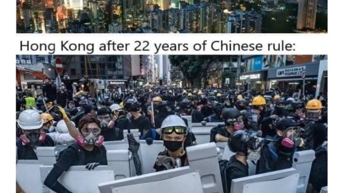 亦有展示出香港抗爭者的照片去講解。