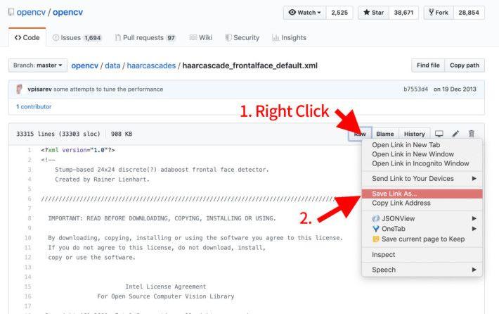 1. 右擊「 RAW 」按鈕;2. 選擇「 Save Link As... 」將檔案儲存在 setup.py 同一目錄裡。