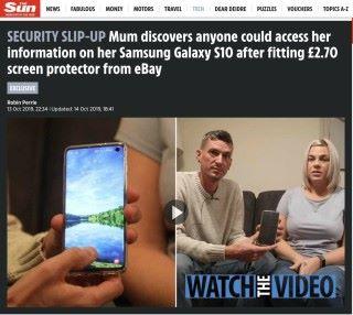 英國太陽報報道英國女士 Lisa Neilson 發現 Samsung Galaxy S10 屏下指紋辨識問題