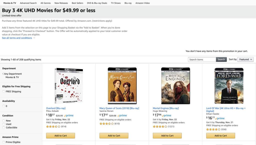 美國 Amazon 現在正進行 4K 電影影碟優惠,買三套電影 4K 影碟只要 $49.99 。不用等到感恩節就可以出手。