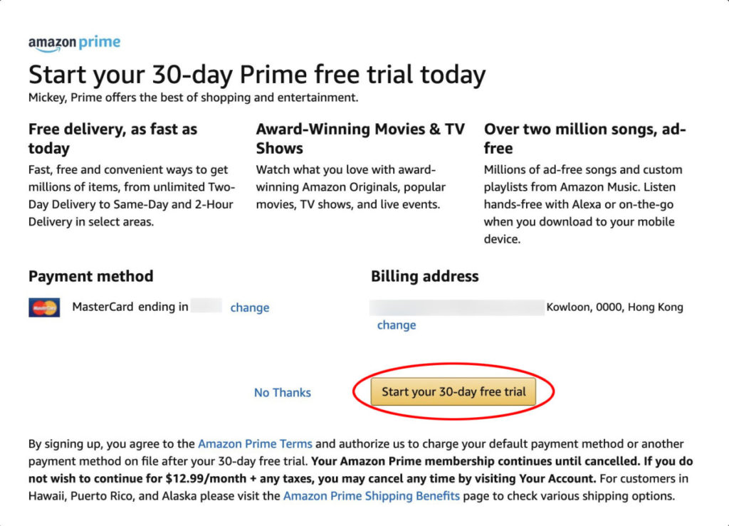 核實資料後按黃色「 Start your 30-day free trial 」按鈕即會開始試用會籍