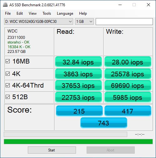 因為 4K 性能較弱,在 AS SSD Benchmark 總分只有 743 分。