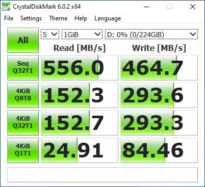 作為參考平台,CrystalDiskMark 測試在最大讀寫性能可以,但在 4K 讀取部分較弱。