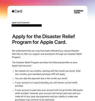 Apple 向災區 Apple Card 用戶發出的「災難救緩計劃」電郵