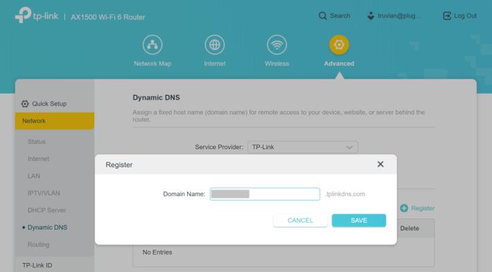 就可以申請一個自訂的 tplinkdns.com DDNS。