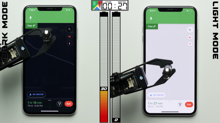 還未用到 8 小時,以 Light Mode 運行的 iPhone 11 Pro 已經黯然收工。 Dark Mode 那部還有約 30% 電量。