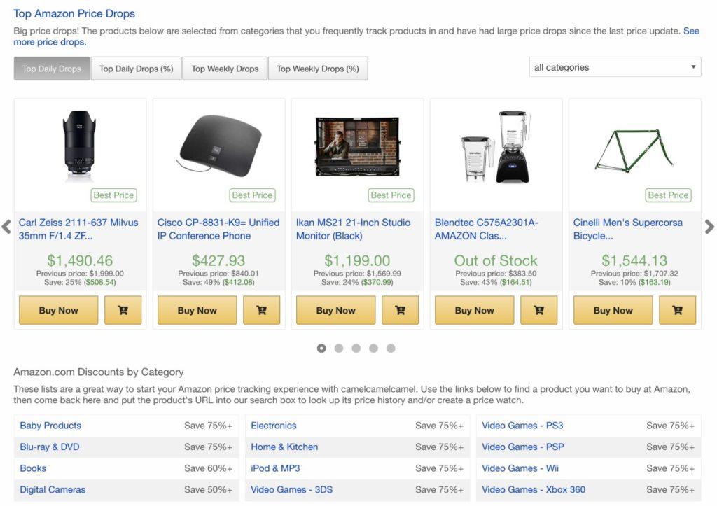 網站列出 Amazon.com 每日精選減價貨品