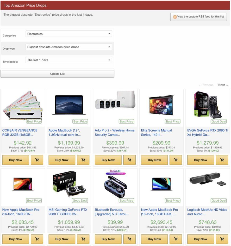 「 Top Price Drops 」可以按分類來搜尋減價貨品,還可以按減價期間搜尋。