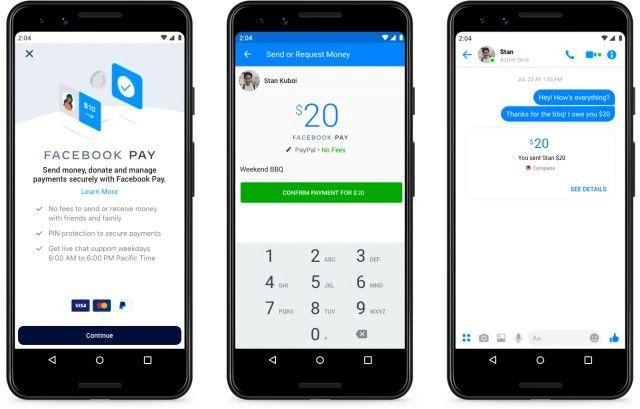 透過 Facebook Pay ,用戶可以在 Facebook 或 Messenger 付款購物或轉帳給朋友。