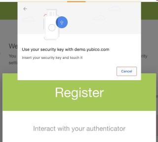 4. 瀏覽器提示你插入密鑰;