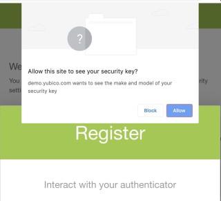 5. 瀏覽器會詢問你是否容許網站觀看你的密鑰,在這裡選「 Allow 」;