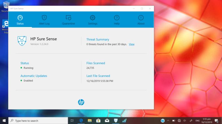 HP Sure Sense 安全性能,透過人工智能的協助,為系統提供多一重保障。