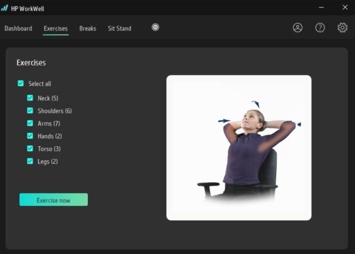 HP 亦很關心用戶的辦公室健康,HP Workwell 軟件會監察用家健康狀況,提供個人化的休息和運動建議。