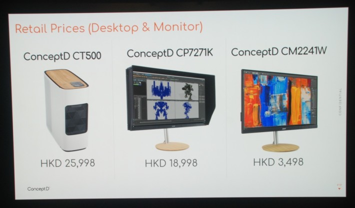 現場公佈 ConceptD CT500 及相關顯示器售價