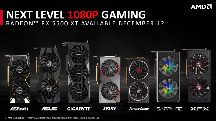 幾乎各 AIB 廠商都有推出 Radeon RX 5500 XT 顯示卡