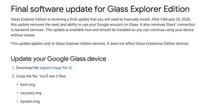 Google 宣在結束對已經停售了近 5 年的 Google Glass Explorer Edition 的支援