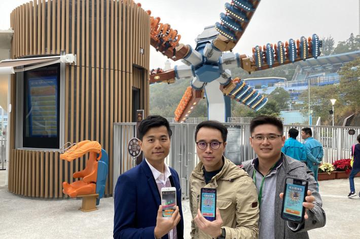 「狂野龍捲風 AR」背後團隊:Boris Fan 范因明 - 影片導演及創作總監(左)、Ricci Wong 黃瑋政 - 技術總監(中)、Calvin Chan 陳明衛 - 高級項目工程師(右)。