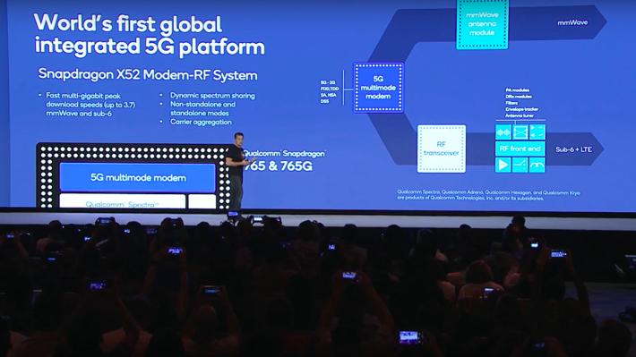 Snapdragon 765/765G 處理器是 Qualcomm 首款整合 X52 5G 數據晶片的 5G SoC,同樣支援 Sub-6 及 mmWave 頻段。