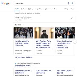 在 Google.com 輸入「 coronavirus 」,就可以進入 2019 新型冠狀病毒 SOS Alert 專頁,不過只限英文版。