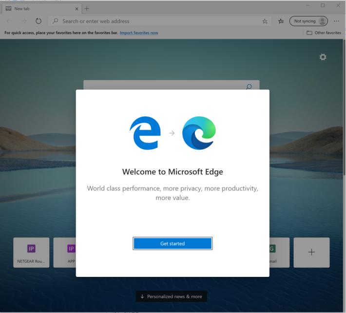 安裝後會開始將舊 Edge 資料轉移到 Chromium Edge 的程序