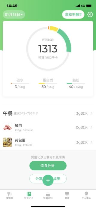 可以記錄早午晚三餐,輸入食物類型及份量,就會自動計算所含有的碳水化合物、蛋白質及脂肪。