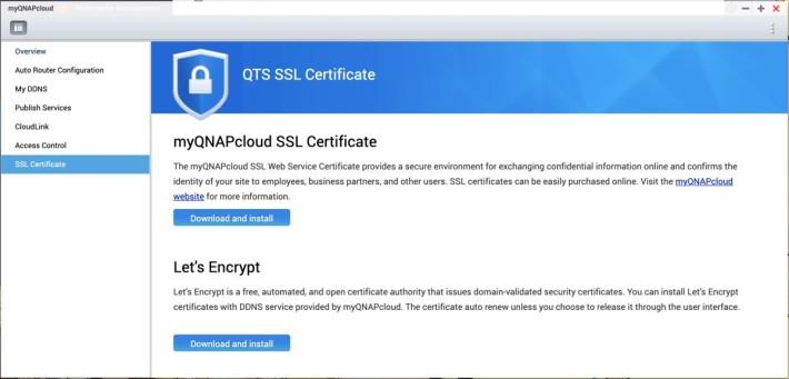 如果你希望透過互聯網接入 NAS 來 Qsync 的話,那你應該要同時在 myQNAPcloud 設定 SSL 證書以提供加密連線,個人使用用的話,選用免費的 Let's Encrypt 的證書已經足夠。