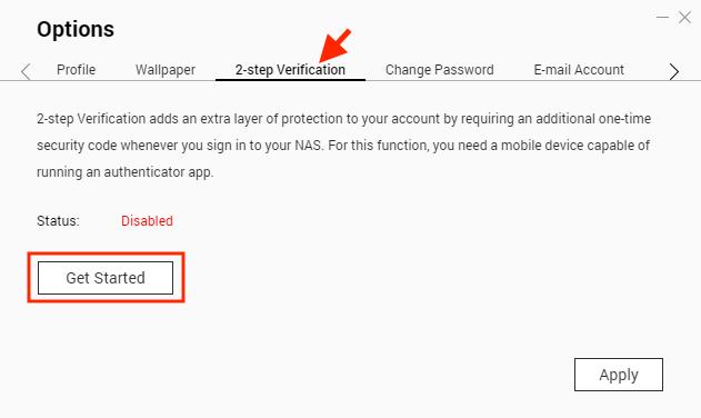 3. 在「 Options 」介面選「 2-step Verification 兩步驟驗證」頁面,按「 Get Started 」;