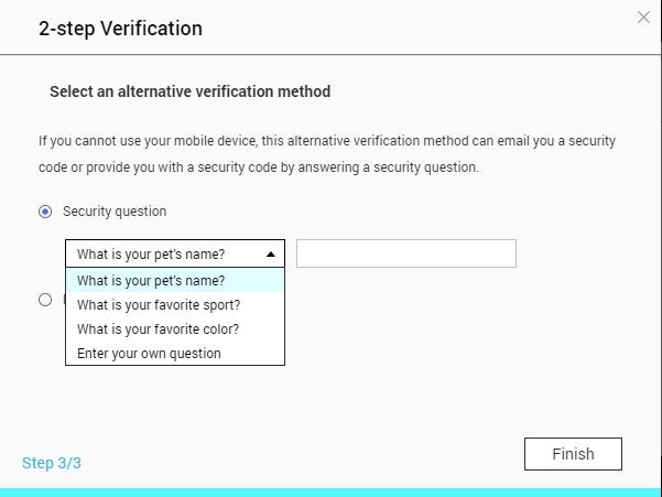 12. 選擇用作後備登入驗證的問題和填入答案,當然你也應該小心保存這個答案,按「 Finish 」完成設定;