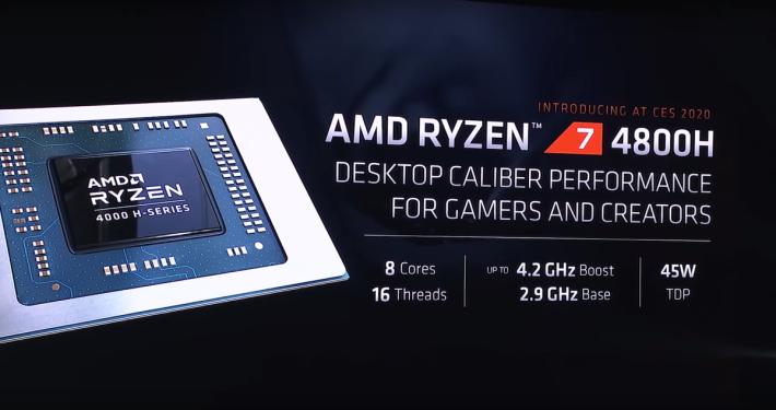 現場公佈 Ryzen 7 4800H 的產品規格