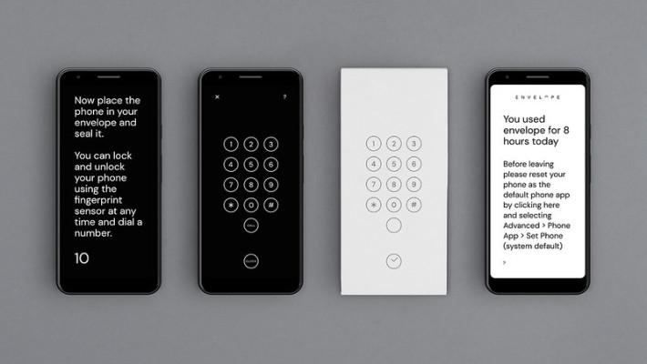 開啟《 Envelope 》手機程式,然後將手機放入紙機套裡。如果手機睡著了,只要把手指放在機背指紋辨識位置就能開機繼續使用。